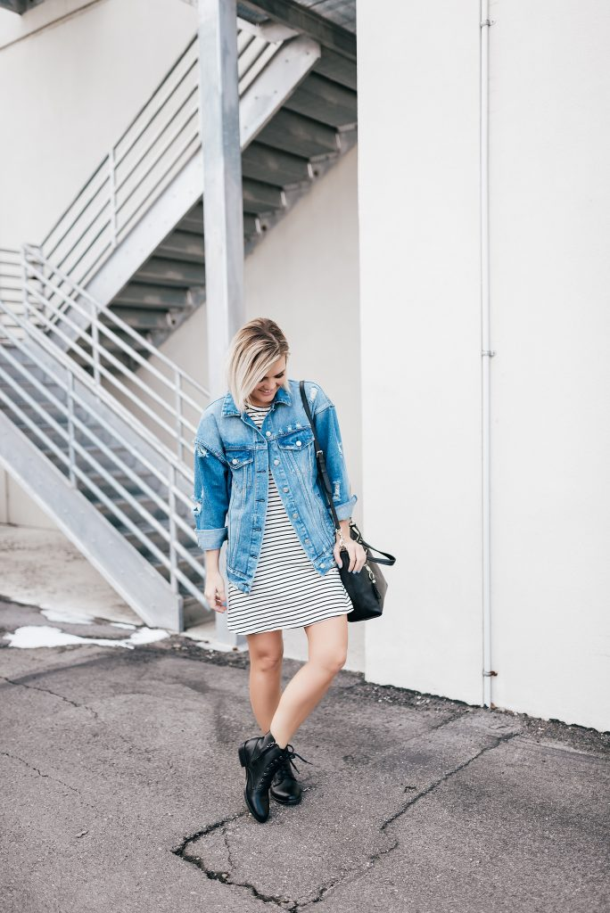 Her Boutique Striped Dress Oversized Denim Jacket