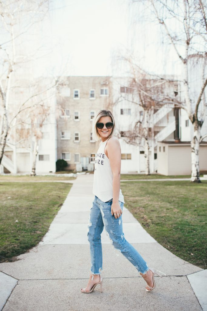 Vici Dolls Stargaze Tank and destroyed boyfriend jeans