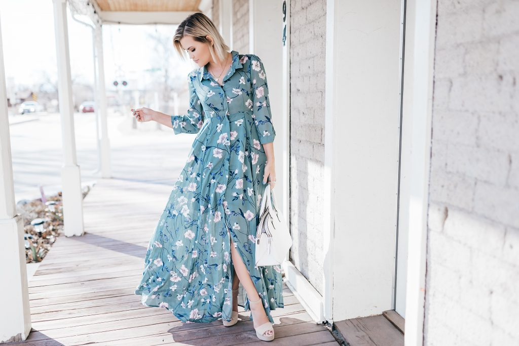 Blue Lagoon Floral Maxi Dress and Henri Bendel Bag