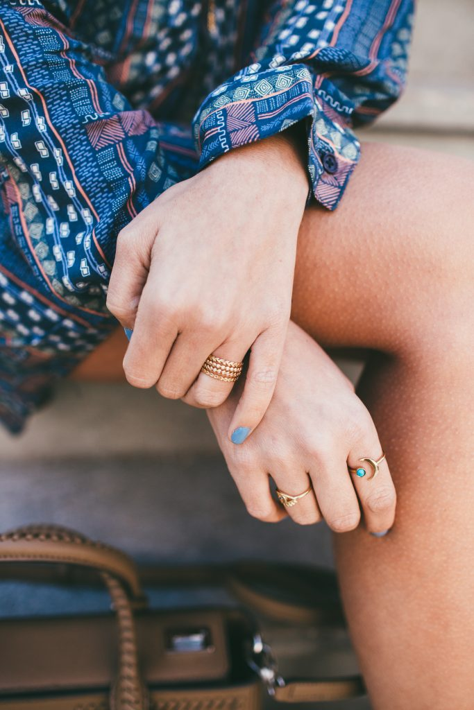 Katie Dean Evil Eye Ring and Wanderlust & Co. Moon Ring
