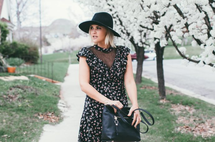 Goldie's Dainty Lace and Floral Ruffle Sleeve Dress and Henri Bendel