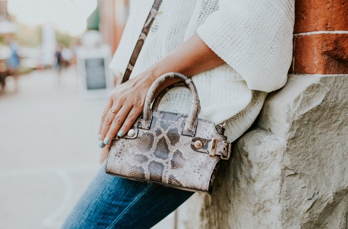 Henri Bendel mini bag and Katie Dean Jewelry