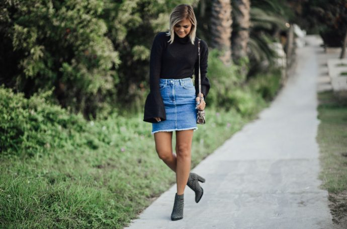 Black Bell Sleeve Sweater and denim skirt