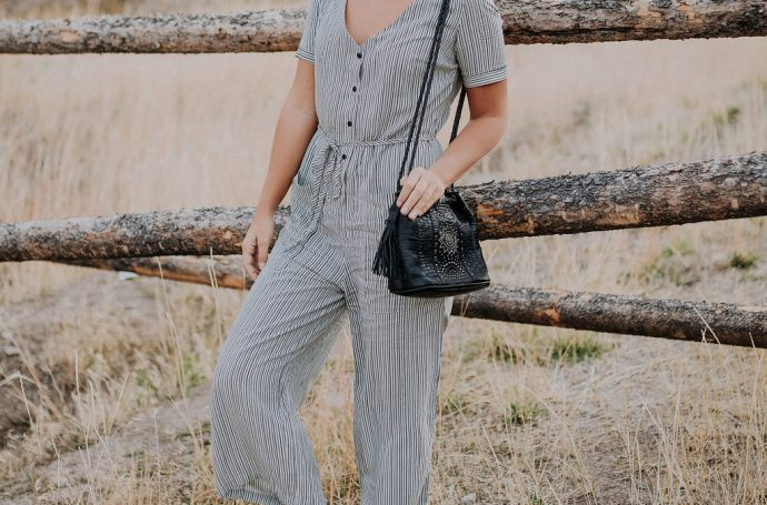 short sleeved striped jumpsuit