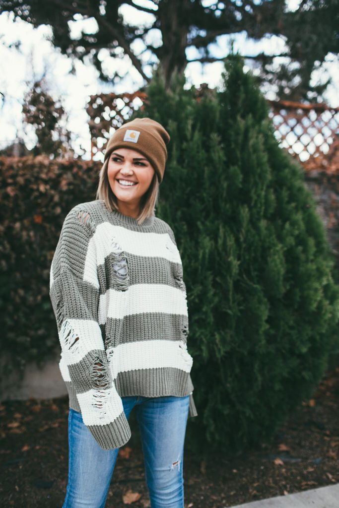 green thick striped sweater and Latigo Maisy Booties