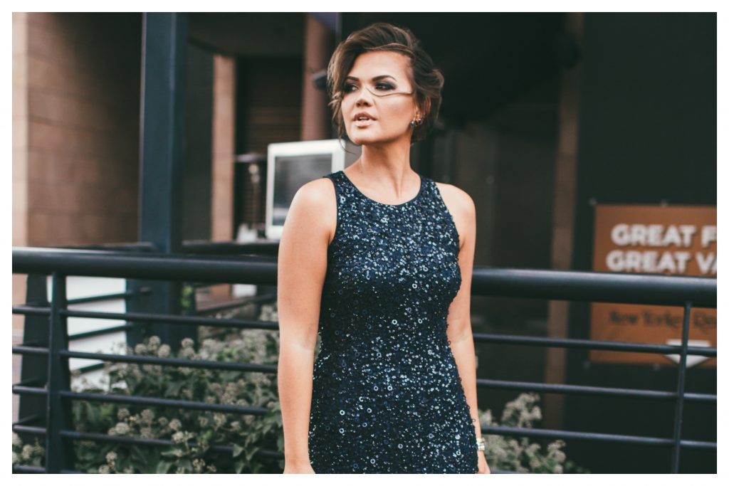 Adrianna Papell High Low Navy Sequin Gown – Wild One Forever