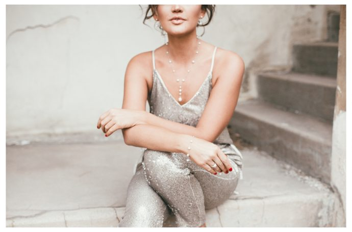 Free People Gold Sequin Jumpsuit