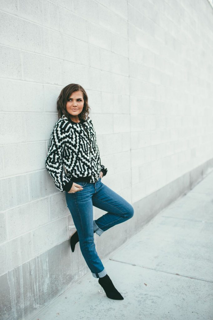 Marly Rae Black and White Crossfire Bomber Jacket and Cecelia New York Emmie Booties