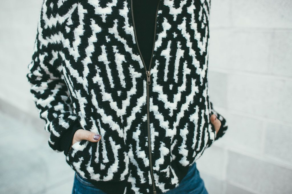 Marly Rae Black and White Crossfire Bomber Jacket