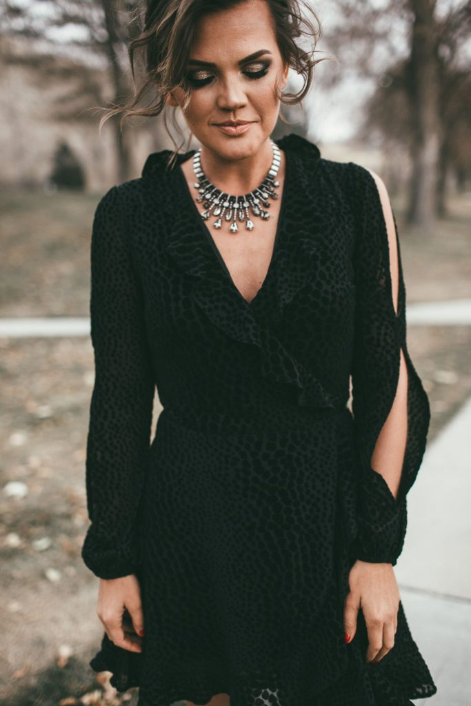 Black short wrap dress and Kendra Scott Bette Necklace