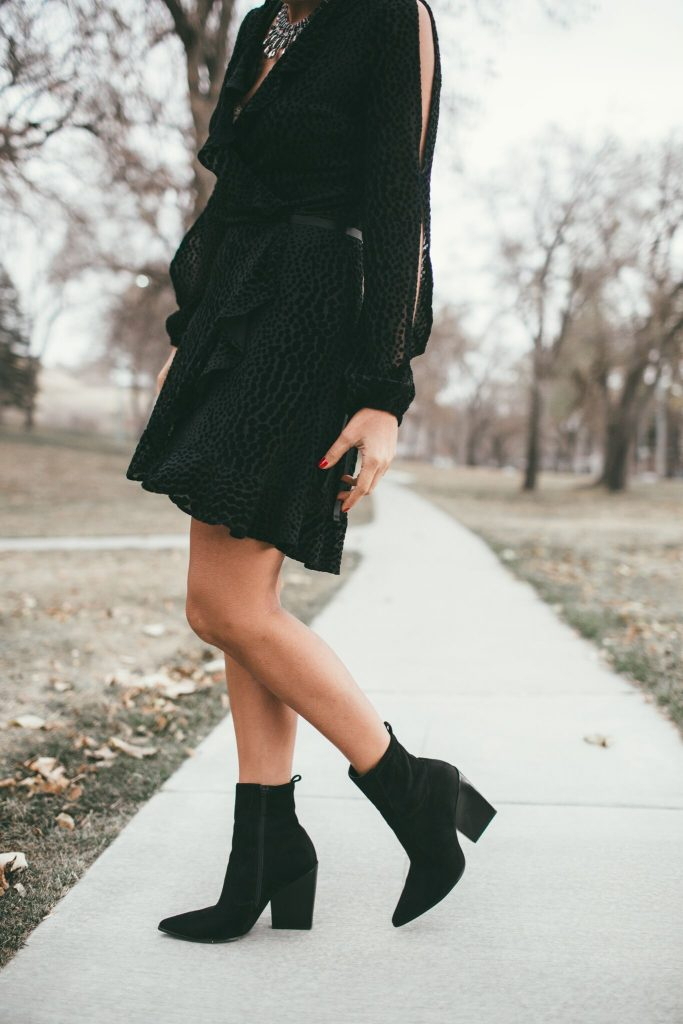Black short wrap dress and Kendall and Kylie booties