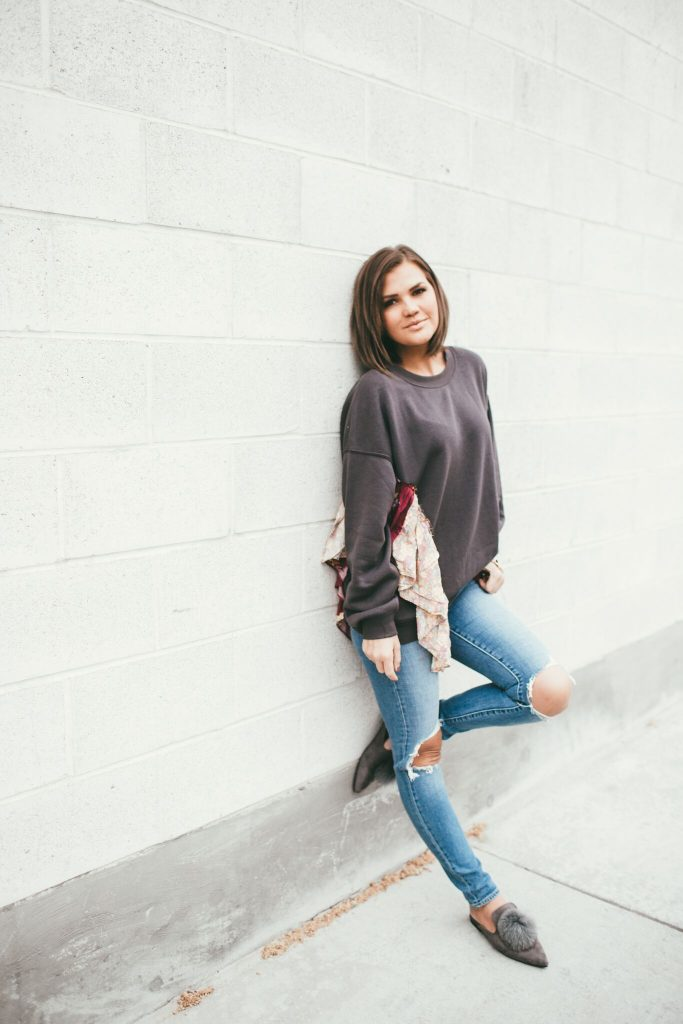 Free People She's Just Cute Sweatshirt and Pom Pom Mules