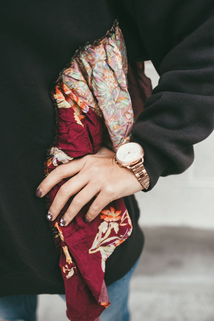Free People She's Just Cute Sweatshirt and Fossil Q Watch