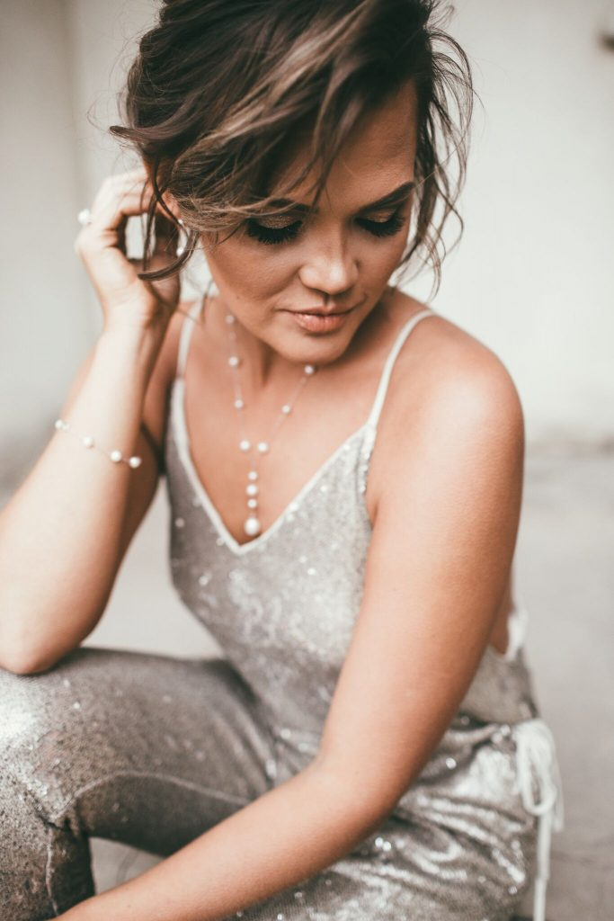 Gold Sequin Jumpsuit and Morgan Jewelers pearls