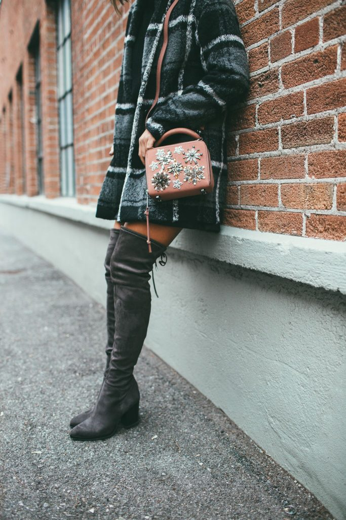 Home for the Holidays Plaid Coat and Marc Fisher over the knee boots