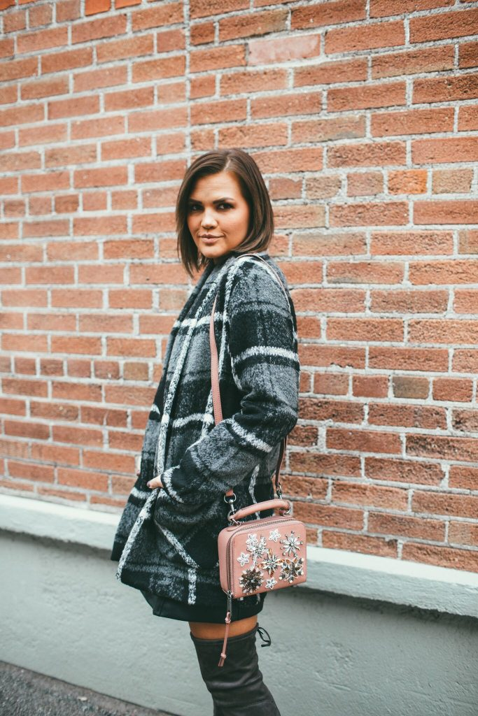 Home for the Holidays Plaid Coat and Rebecca Minkoff Stargazing Crossbody