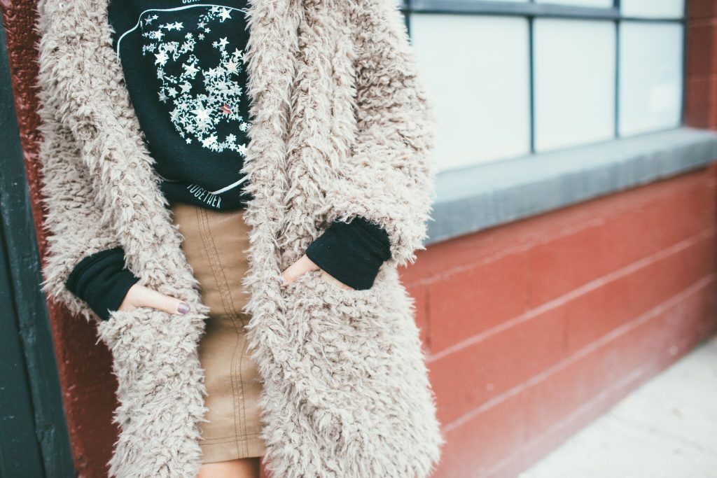 Tan Teddy Bear Coat and Free People mini skirt