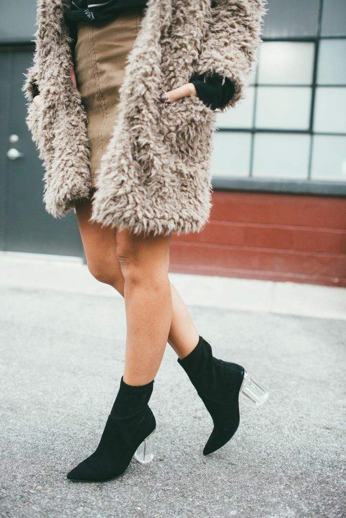 Tan Teddy Bear Coat and Free People mini skirt and Emmie Cecelia New York Booties