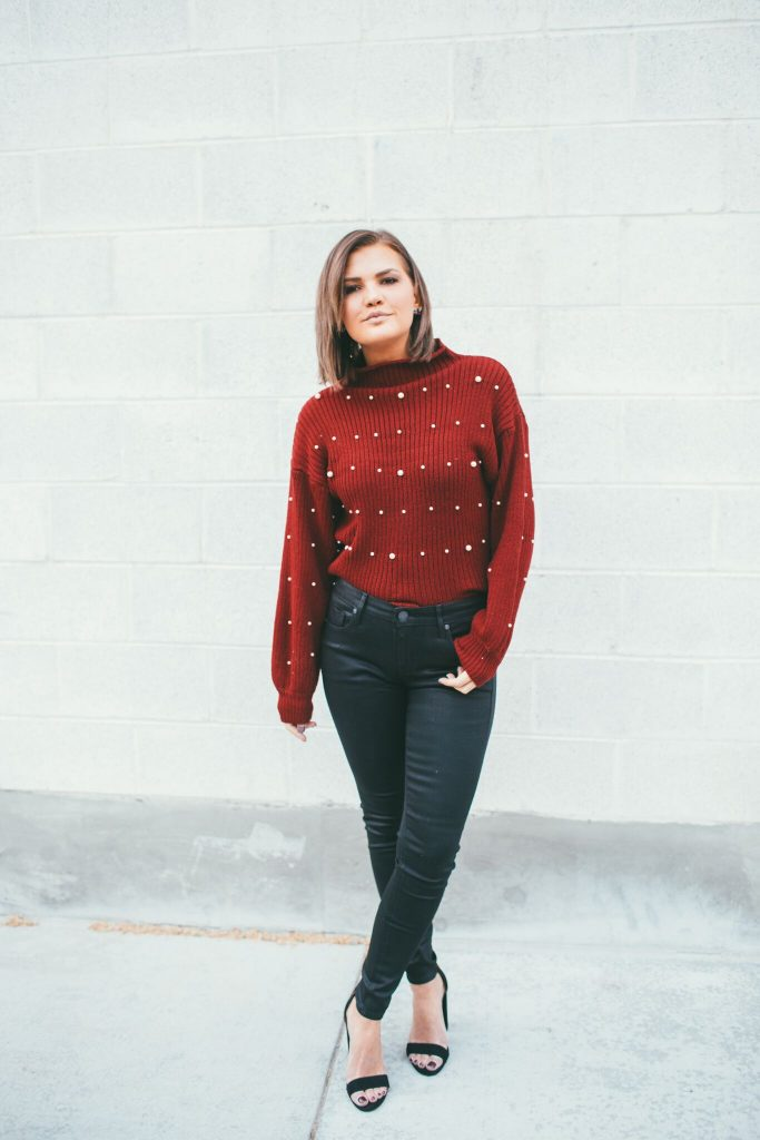 Red Pearl Sweater and coated denim