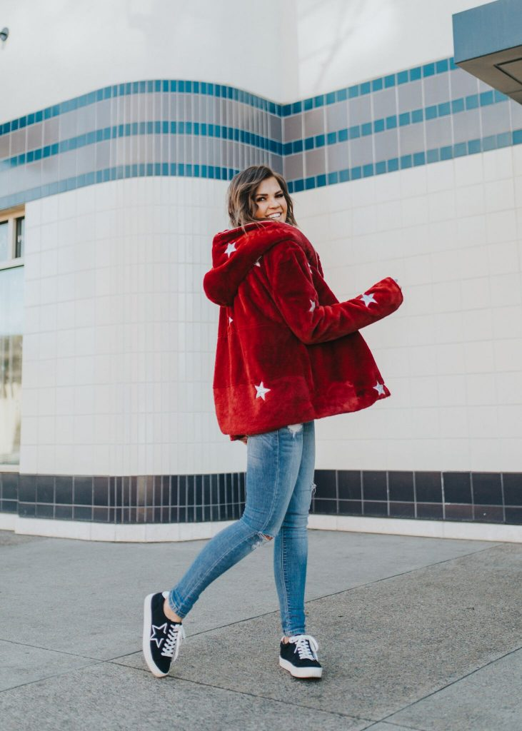 Red Faux Fur Star Print Coat