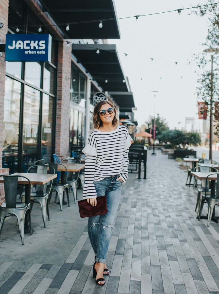 Striped Sweater with Bell Sleeves and girlfriend jeans