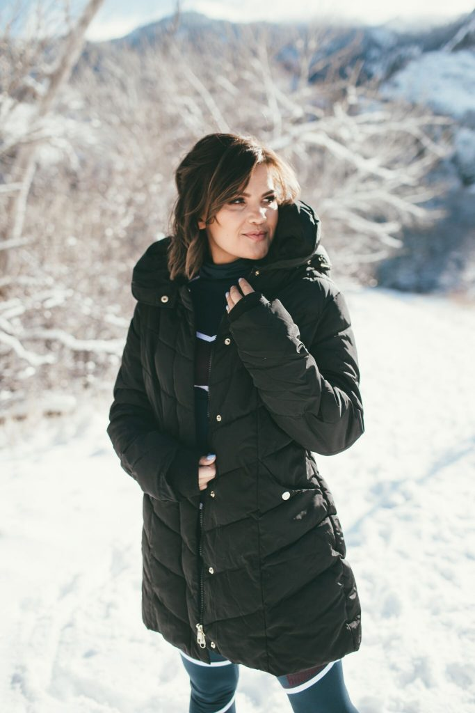 Sweaty Betty Ski Outfit and Steve Madden black puffer coat