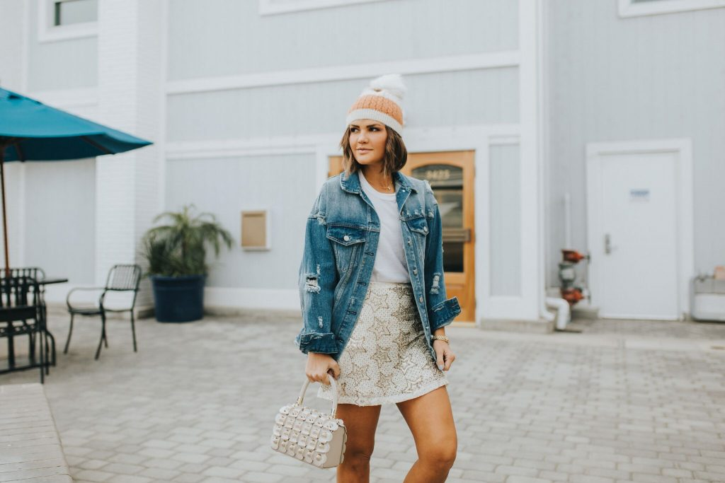 Beaded Star Skirt and Denim Jacket