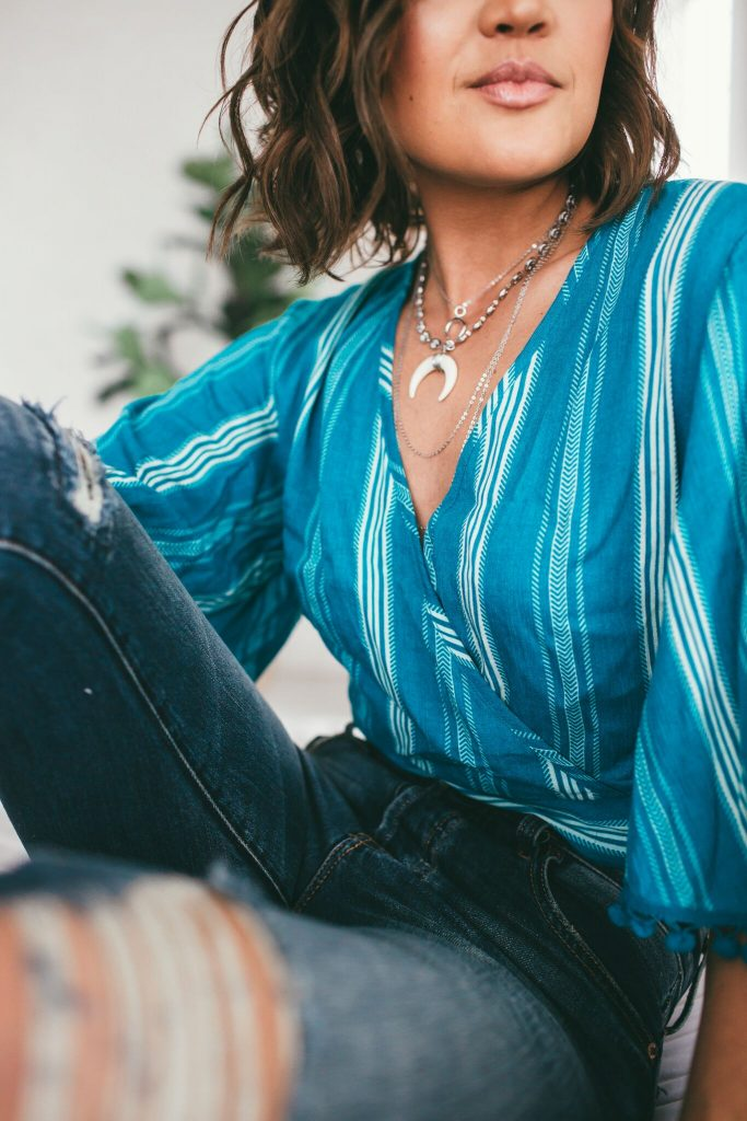 Band of Gypsies Turquoise Wrap Crop Top and Jay Nicole Jewelry