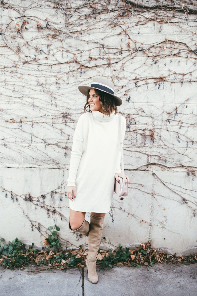 Cowl Neck Dress and Over the knee Boots
