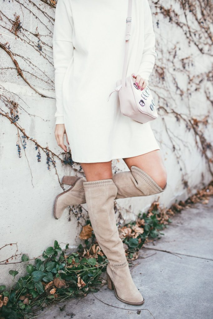 Cowl Neck Dress and Over the knee Boots and Min and Mon Bag