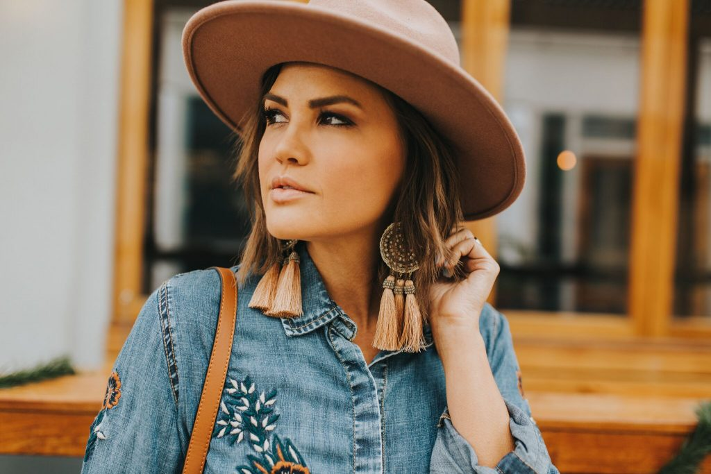 Embroidered Chambray Blouse and Lack of Color Fleur Hat