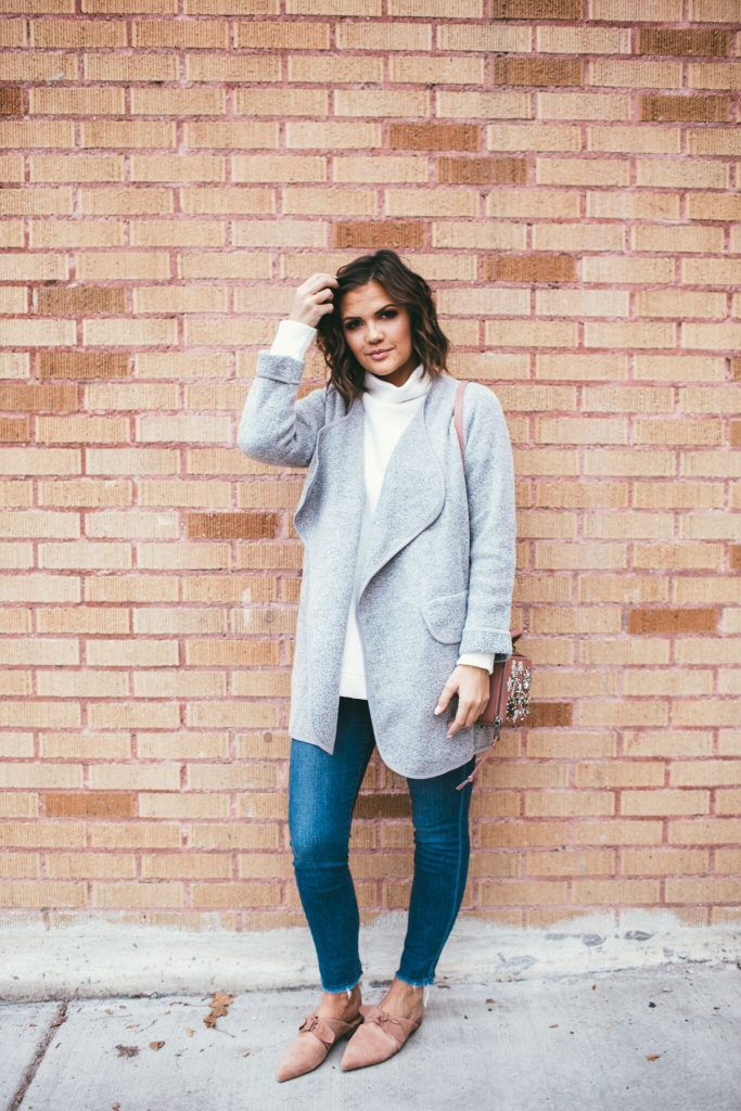 Tessa Cardigan from Seattle Vis and pink Charlin Bow Jeffrey Campbell flats