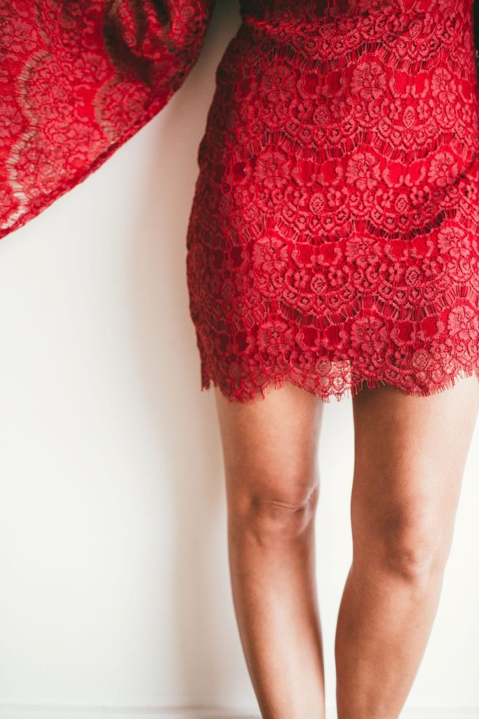 red lace bell sleeve valentine's day dress