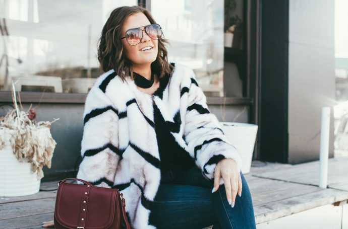 Chicwish zig zag faux fur coat and Quay Desi Perkins Sunglasses