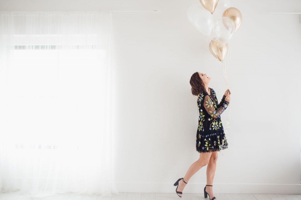 Hearts Are Wild Free People Dress and birthday balloons