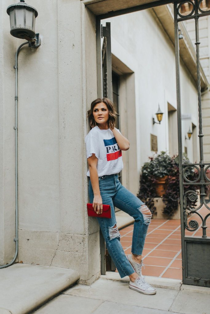 Paris Graphic Tee and mom jeans