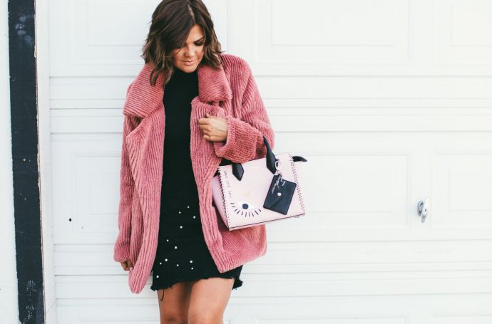 Pink Faux Fur Coat and Henri Bendel Evil Eye Bag