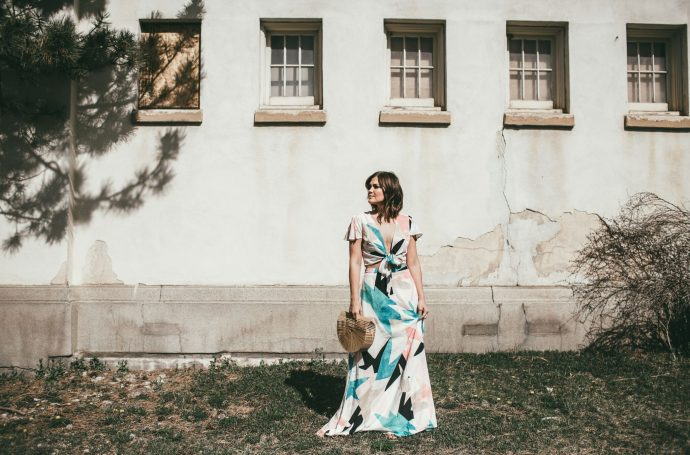 Watercolor two-piece maxi dress