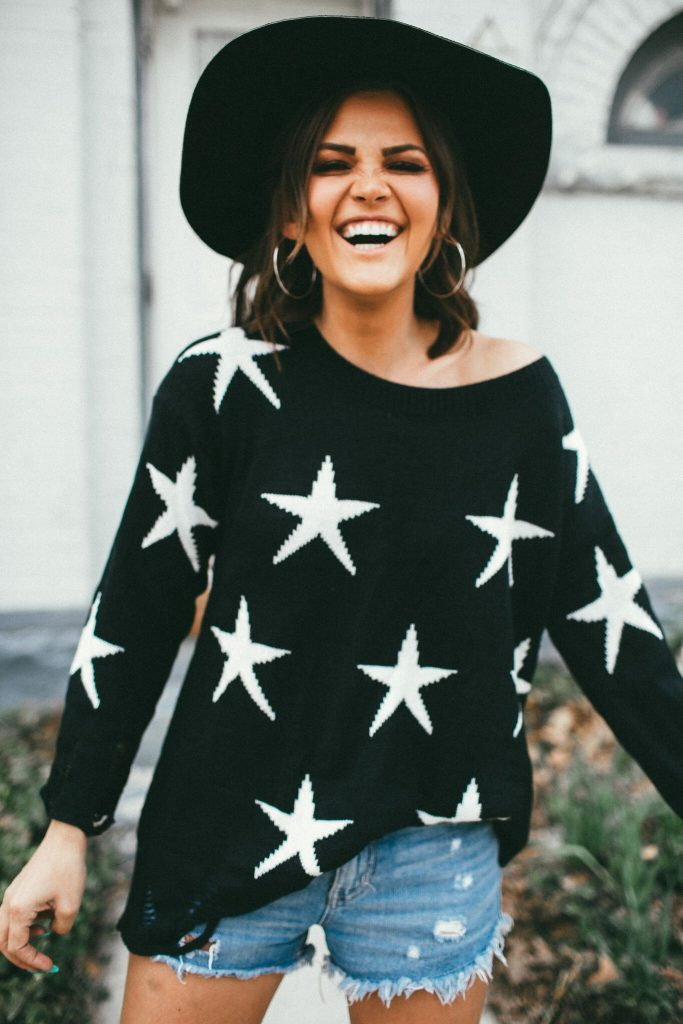 black destroyed star sweater