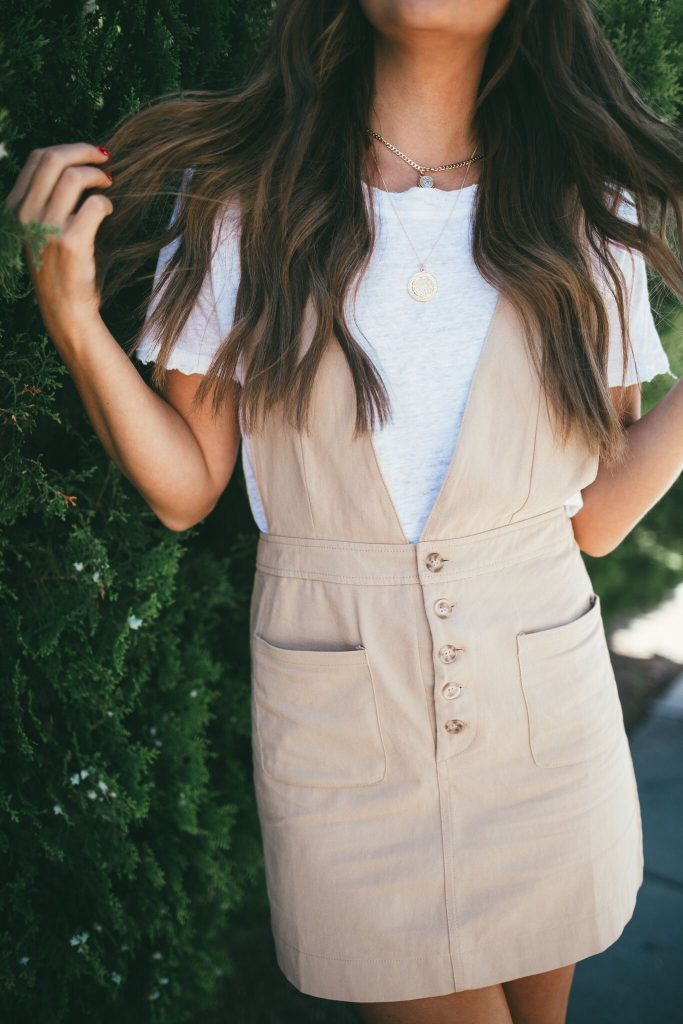 tan jumper dress