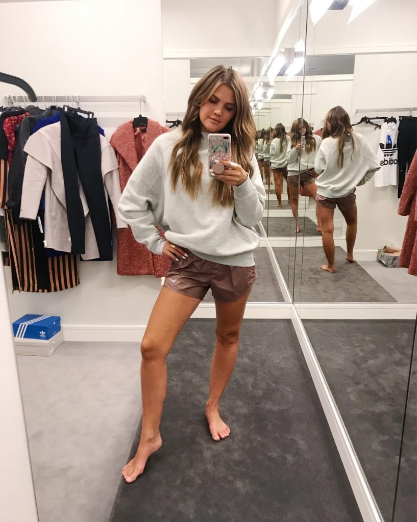Wild One Forever - Nordstrom Anniversary Sale 2018 Activewear nike grey sweatshirt and rose gold shorts