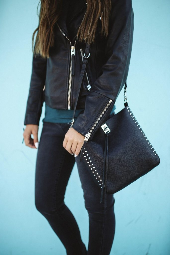 Nordstrom Anniversary Sale 2018 - Black Leather Jacket and rebecca minkoff bag