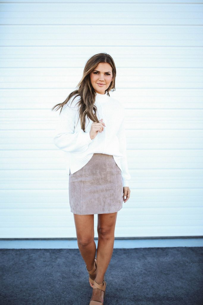Nordstrom Anniversary Sale 2018 - Blank NYC suede skirt and white sweater