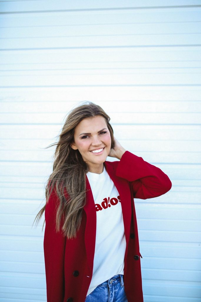 Nordstrom Anniversary Sale 2018 - red blazer and adios tee
