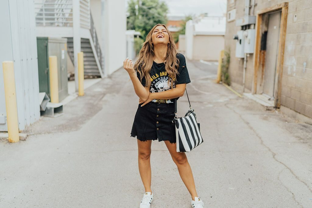 Shein Wild and Free Tank and Black Denim Skirt