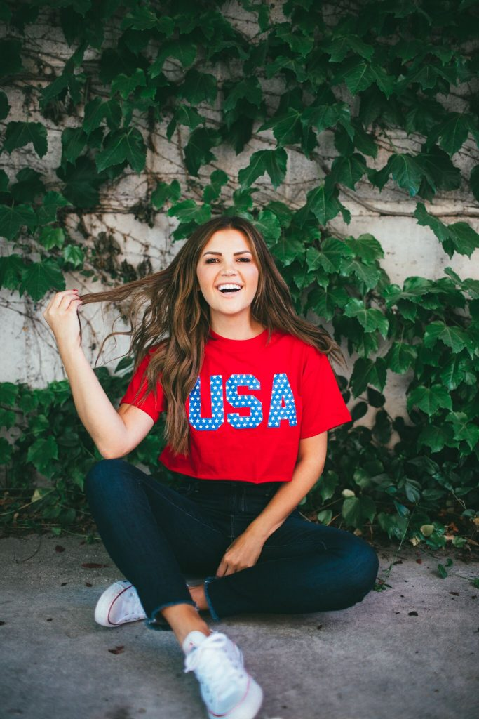 red USA crop top