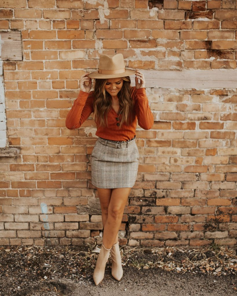 Plaid Skirt & Gigi Pip Monroe hat