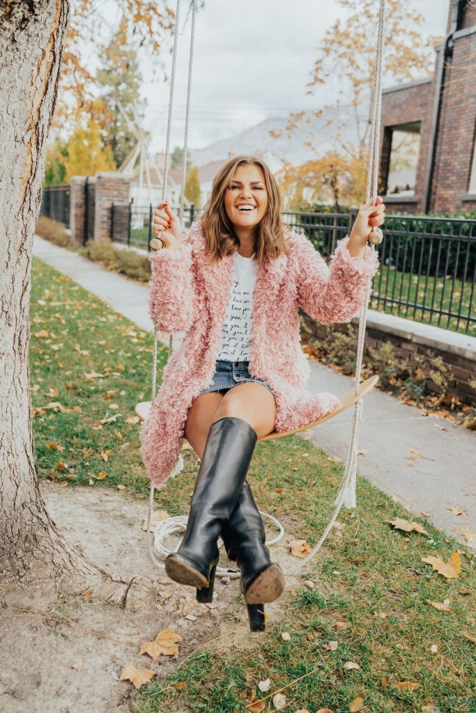 Lovely Pepa Darling Tee and Mayla Boots  with Chicwish Faux Fur Coat