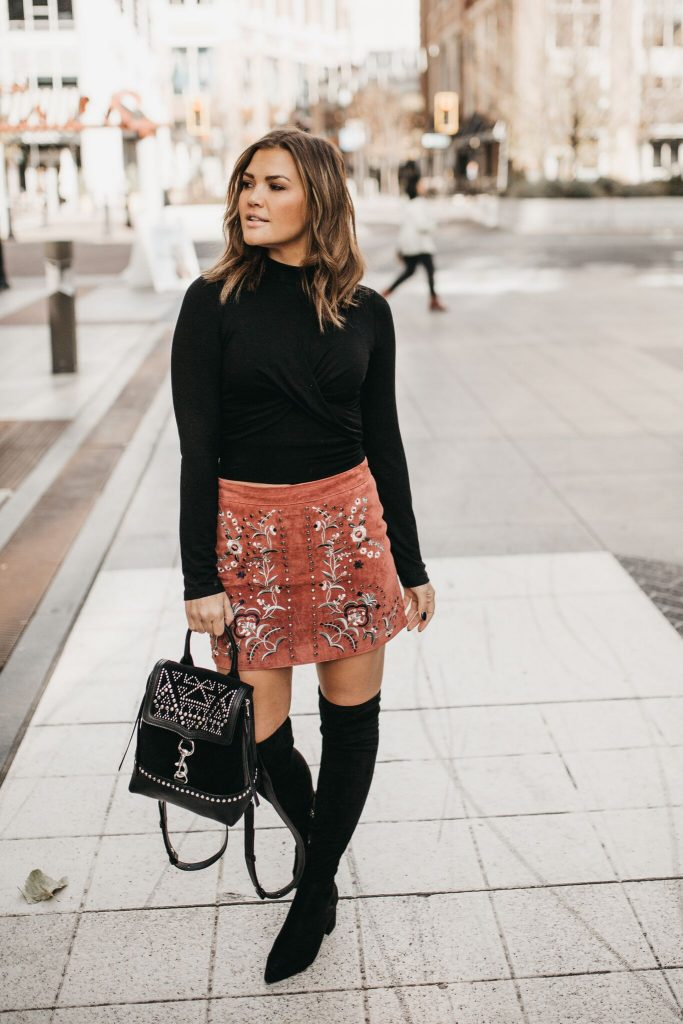 Willow and CLay Beatrice Suede Skirt and Jackson Top