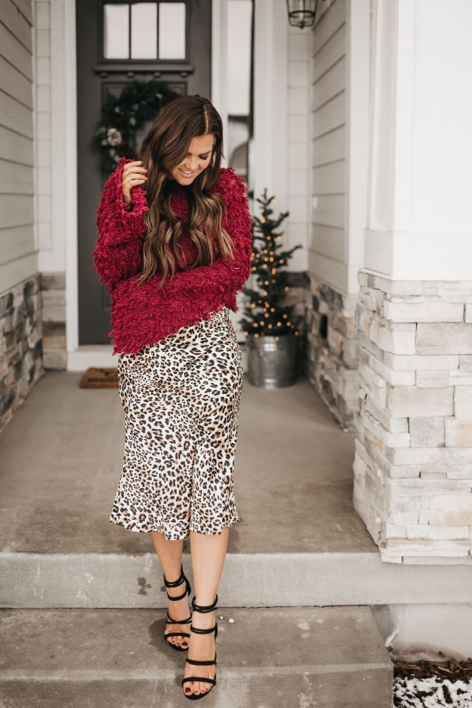 Vici Dolls maroon sweater and leopard print midi skirt